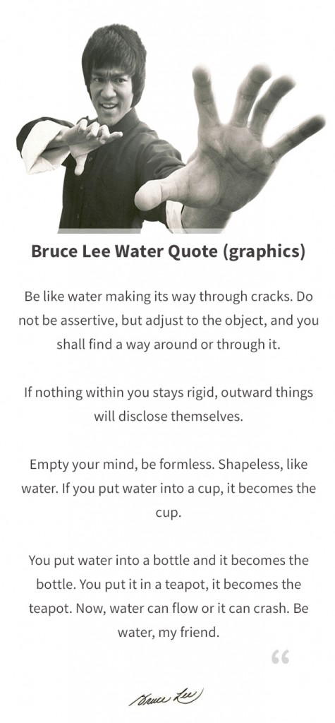transcription of bruce lee water quote be like water making its way ...
