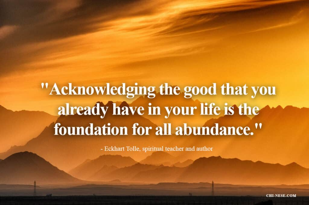 Acknowledging the good that you already have in your life is the foundation for all abundance